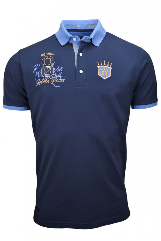 "Polo homme Aristow ""Rumble in the jungle"" design boxe bleu marine et indigo"