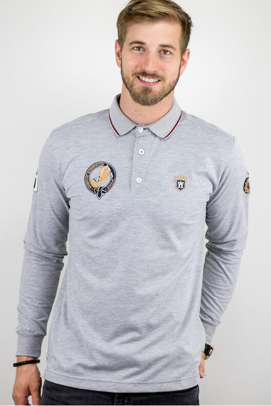 "Polo manches longues gris ""PUR SANG"""