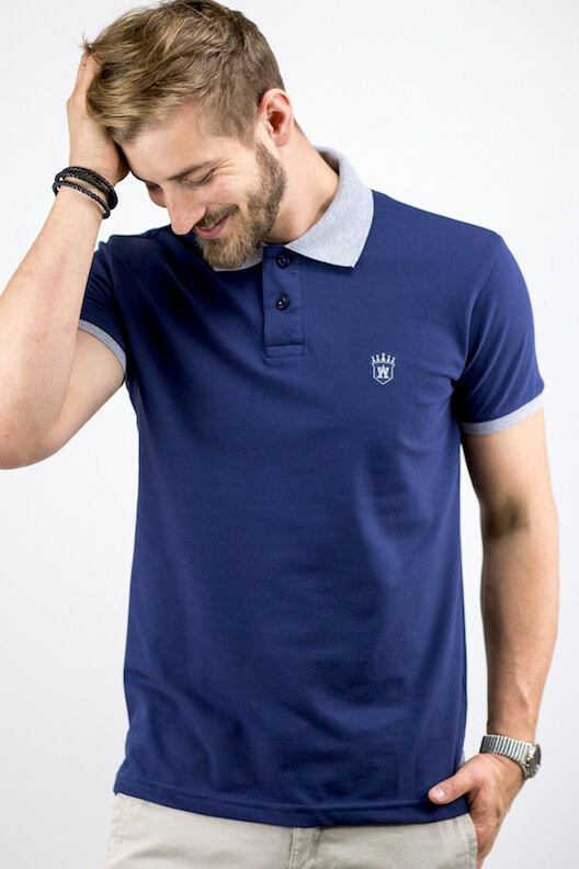 "Polo bleu marine ""ALLOVER"""